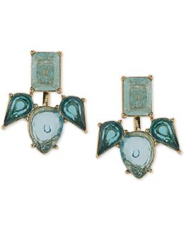 Gold-tone Blue Stone Earring Jackets