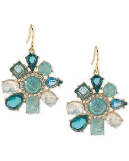 Gold-tone Blue Stone And Crystal Flower Drop Earrings