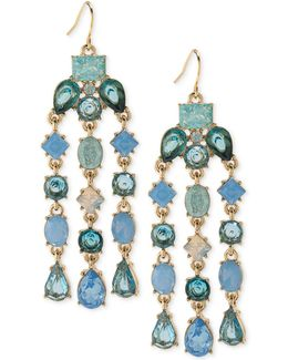 Gold-tone Blue Stone Chandelier Earrings