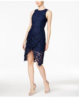 Lace Wrap-front Sheath Dress