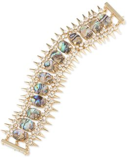 Gold-tone Spike, Crystal & Colored Stone Flex Bracelet