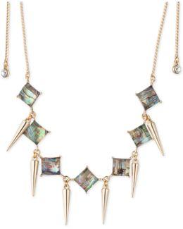 Gold-tone Spike & Abalone Stone Choker Necklace