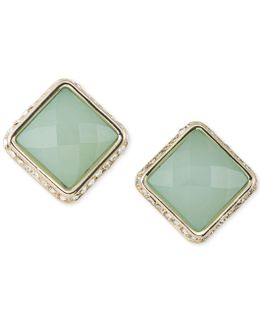 Gold-tone Colored Stone Square Stud Earrings