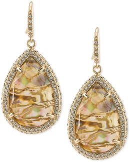 Gold-tone Pavé & Abalone Stone Drop Earrings