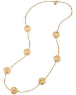 Gold-tone Cut-out Bead Long Necklace