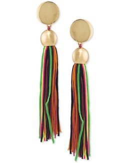 Gold-tone Multicolor Tassel Drop Earrings