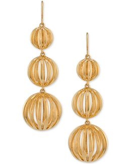 Gold-tone Cut-out Orb Triple Drop Earrings