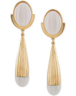 Gold-tone & White Drop Earrings