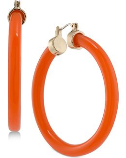Gold-tone Coral-colored Hoop Earrings
