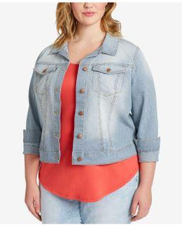 Trendy Plus Size Pixie Pinstripe Denim Jacket