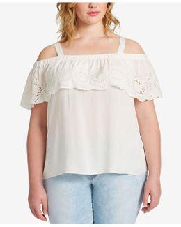 Trendy Plus Size Eyelet Off-the-shoulder Top