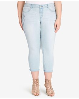 Trendy Plus Size Manor Wash Cropped Embroidered Jeans