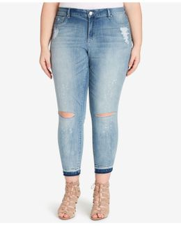 Trendy Plus Size Amo Wash Ripped Dip-dyed Jeans