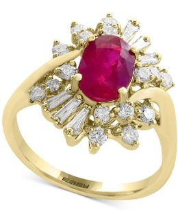 Certified Ruby (1-3/8 Ct. T.w.) And Diamond (5/8 Ct. T.w.) Ring In 14k Gold