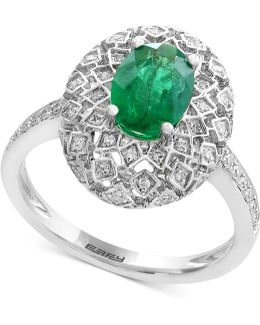 Emerald (1-1/8 Ct. T.w.) And Diamond (1/4 Ct. T.w.) Ring In 14k White Gold