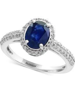 Sapphire (1-3/8 Ct. T.w.) And Diamond (1/3 Ct. T.w.) Ring In 14k White Gold