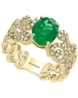 Emerald (1-1/2 Ct. T.w.) And Diamond (1/3 Ct. T.w.) Ring In 14k Gold