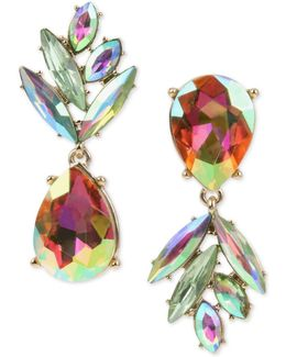 Gold-tone Clear & Colored Crystal Pineapple Mismatch Drop Earrings