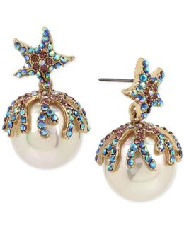 Gold-tone Colored Pavé & Imitation Pearl Starfish Drop Earrings
