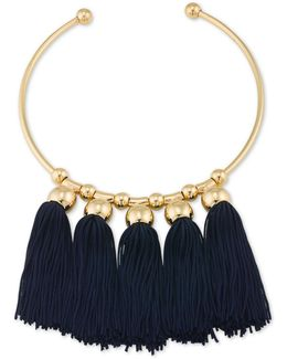 Gold-tone Navy Tassel Collar Necklace