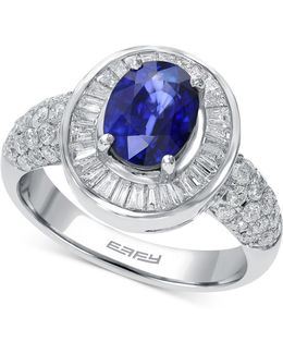 Sapphire (1-3/8 Ct. T.w.) And Diamond (9/10 Ct. T.w.) Ring In 14k White Gold