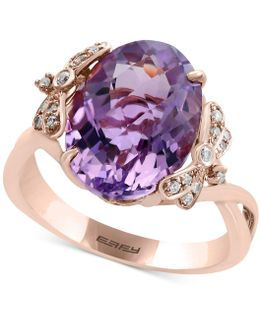Pink Amethyst (5-9/10 Ct. T.w.) And Diamond Accent Ring In 14k Rose Gold