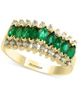 Emerald (7/8 Ct. T.w.) And Diamond (1/5 Ct. T.w.) Ring In 14k Gold