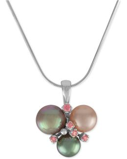 Sterling Silver Pink Cubic Zirconia & Colored Imitation Pearl Pendant Necklace