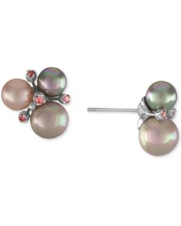 Sterling Silver Pink Cubic Zirconia & Colored Imitation Pearl Cluster Stud Earrings