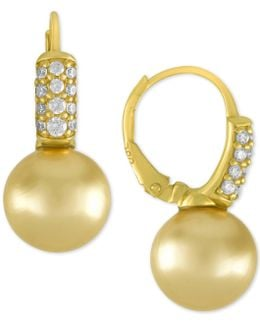 Gold-tone Cubic Zirconia & Champagne Imitation Pearl Drop Earrings