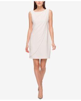 Studded Draped Jersey Sheath Dress