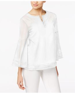 Cotton Bell-sleeve Peasant Top