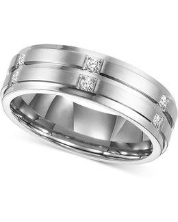 Men's Diamond Wedding Band Ring In Stainless Steel (1/6 Ct. T.w.)