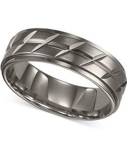 Men's Titanium Ring, Etched Wedding Band