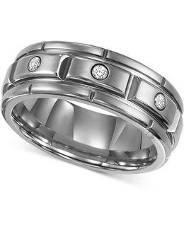 Men's Titanium Ring, Three Diamond Wedding Band (1/10 Ct. T.w.)