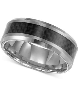 Men's Tungsten Carbide Ring, Black Carbon Fiber Stripe Wedding Band