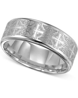 Men's Tungsten Carbide Ring, Comfort Fit Etched Cross Wedding Band