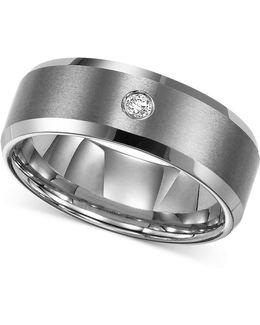 Men's Tungsten Carbide Ring, Single Diamond Accent Wedding Band