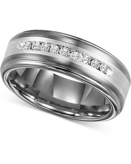 Men's Tungsten Carbide And Diamond Wedding Band Ring In Sterling Silver (1/4 Ct. T.w.)