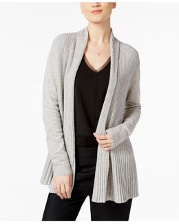 Cashmere Ribbed Open-front Cardigan