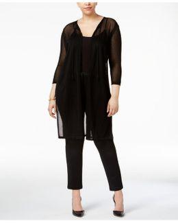 Plus Size Sheer-knit Long Cardigan
