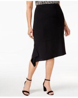 Plus Size Asymmetrical-hem Skirt