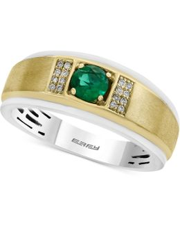 Men's Emerald (1/2 Ct. T.w.) And Diamond Accent Two-tone Ring In 14k Gold And White Gold
