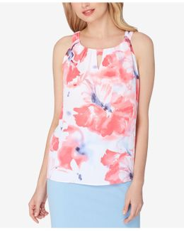 Floral-print Pleated Keyhole Blouse