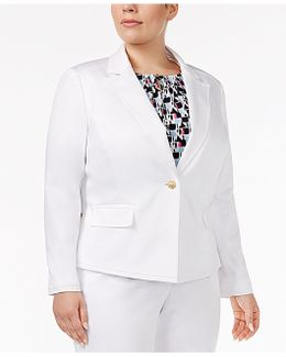 Plus Size Peak-collar Blazer