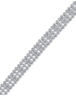 Diamond Accent Three-row Beaded Bracelet In Fine Silver-plate