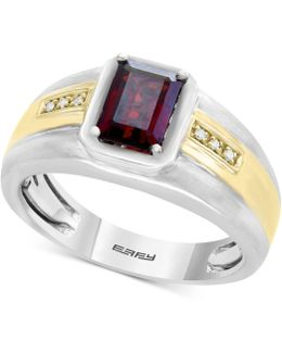 Men's Garnet (1-3/4 Ct. T.w.) & Diamond Accent Ring In Sterling Silver And 18k Gold