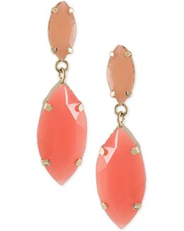 Gold-tone Marquise Stone Drop Earrings