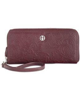 Sandalwood Tooled Zip-around Wallet