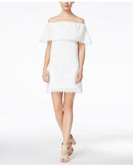Off-the-shoulder Eyelet-detail Dress